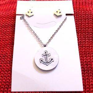 Stainless Steele Earrings, Chain, Pendant Anchor